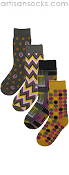 Mod Mustard 4 Pair of Socks by Project Runway Winner Jay McCarroll