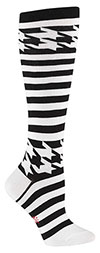 Houndstooth and Stripe black and white Knee High Socks by Mondo Guerra