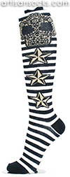 Stripe Knee High Socks with Nautical Star and Sugar Skull