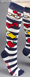 Navy Striped Nerd Hello Kitty Knee High Socks