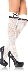 White Lace OTK School Girl Socks