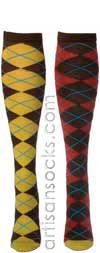 Ozone DEFINITION ARGYLES BROWN Argyle Cotton Knee High Knee Socks