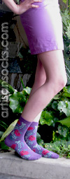 Bloomers Womens Crew Socks Violet with Flowers