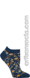 Cut Out Flowers Blue Ankle Socks