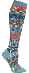 Ozone Reindeer Pattern Blue Knee High Knee Socks
