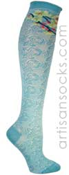 Sakura Flower Knee Socks - Blue