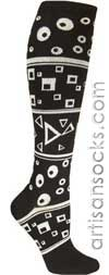 Ozone Definition Black and White Combo Geometric Cotton Knee High Socks