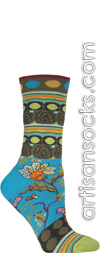 Ozone Fille Women's Crew Socks Turquoise with Pattern