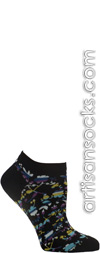 Cut Out Flowers Black Ankle Socks
