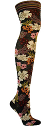 Ozone Japan Green Flower Print Cotton Over The Knee Socks (OTK)