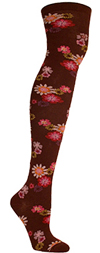 Ozone China Bordeaux Floral Print Over The Knee Socks (OTK)