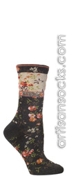 Ozone Mona Linen Floral Print Charcoal Crew Sock