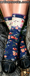 Ozone Mona Linen Navy Crew Sock with Flowers