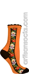 Ozone Nordic Stripe Orange with Flowers