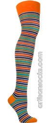 Ozone OTK Orange Pop Stripes Over the Knee Socks