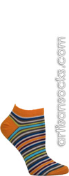 Ozone Pop Stripes Cotton Blend Ankle Socks - Orange
