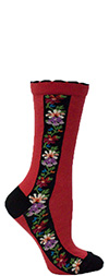 Ozone Red Nordic Stripe Floral Crew Socks