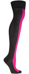 Ozone Neon Pink Racer Stripe Over the Knee Socks - OTK