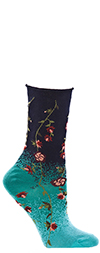 Ozone Tibetan Flowers - Floral Crew Socks in Navy Blue