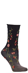 Ozone Tibetan Flowers - Floral Crew Socks in Black