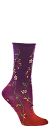 Ozone Tibetan Flowers - Floral Crew Socks in Fuschia