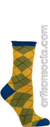 Ozone Openwork Yellow Argyle Crew Socks