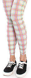 Pink and White Pastel Plaid Leggings