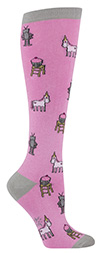 Cupcake, Unicorn & Robot Pink Knee Highs