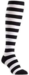 Plus Size Black and White Striped Knee High Socks