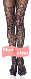Plus Size Black Floral Vine Net Tights