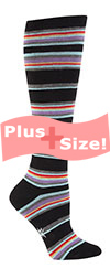 Plus Size Black and Neon Thin Striped Knee High Socks CURVY