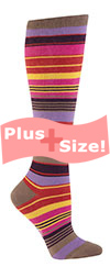 Plus Size Multi Color Striped Knee High Socks CURVY