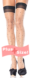Sexy Plus Size Nude and Black Polka Dot Thigh Highs