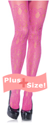 Plus Size Pink Floral Vine Net Tights