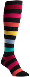 Plus Size Sherbet Stripe Dark Rainbow Knee High Socks