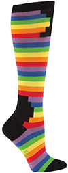 Geometric Black Blocks and Rainbow Knee High Socks