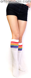Knee High Rainbow Socks - Rainbow Striped Tube Socks