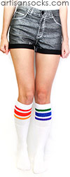 Mismatched Knee High Rainbow Socks - Rainbow Striped Tube Socks