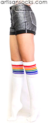 Over the Knee Rainbow Socks - Rainbow Striped Tube Socks