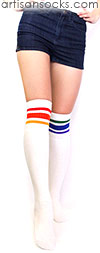 Mismatched Over the Knee Rainbow Socks - Rainbow Striped Tube Socks