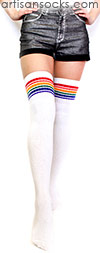 Thigh High Rainbow Socks - Rainbow Striped Tube Socks