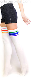 Mismatched Thigh High Rainbow Socks - Rainbow Striped Tube Socks