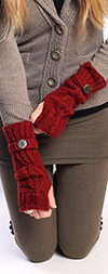 Knit Arm Warmers with Thumb Hole - DARK RED