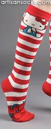 Vintage Hello Kitty Striped Knee High Socks with Apples