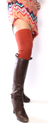 Rib Knit Over the Knee in Pumpkin Orange