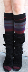RocknSocks Morgan le Fay Striped Cotton Knee High Women's Socks