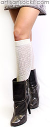 RocknSocks Jagger Cotton White Knee High Women's Socks