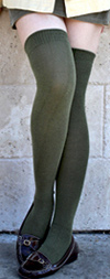 RocknSocks Olive Green Solid Color Over the Knee Socks - OTK