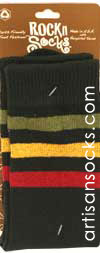 RocknSocks Go Team Rasta Black Striped Cotton Crew Socks