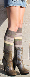 RocknSocks Coyote Green and Brown Striped Knee High Knee Socks